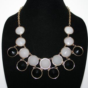 Gold black and gray bib style statement necklace